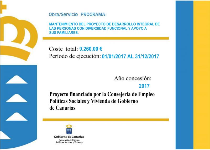 Imagen Financiación del programa de Desarrollo Integral de Personas con Diversidad Funcional y Apoyo a sus Familiares